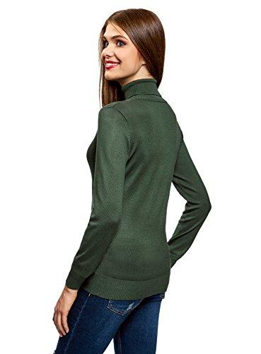 oodji Collection Damen Viskose-Pullover Basic Grün (6E00N)