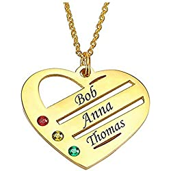 Nom Colliers Collier Trois Coeur Prenom Personnalisé avec Pendentif en Or Rose Argent Massif 925 Cadeau Fête des Mères Femme Anniversaire Marriage