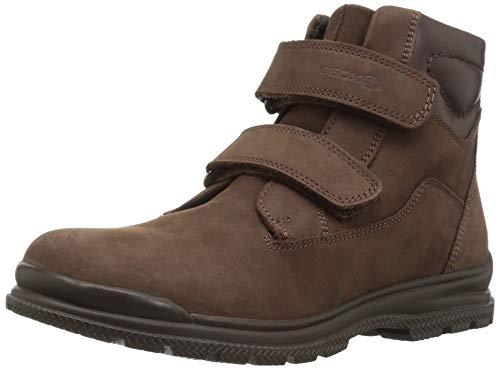 Geox J845HC Navado WPF Modischer Jungen Leder Stiefel, Klettverschluss, warm gefüttert, wasserfest, atmungsaktiv braun (DK Brown), EU 36
