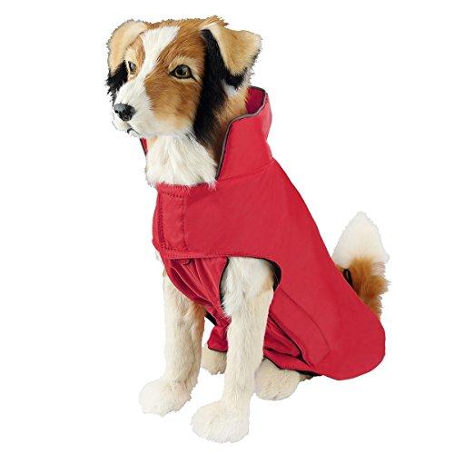 SymbolLife Hundemantel aus 100% Wasserdicht Nylon Fleece Futter Jacke Reflektierende Hundejacke Warm Hundemantel Climate Changer Fleece Jacke einfaches An- und Ausziehen(S Rot) Neu