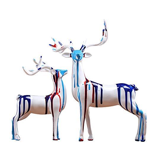 OYBB Statuen Skulpturen Ornamente Mode Einfachen Paar Auf Die Deer Ornamente Kreative Malerei Home Wohnzimmer Dekorationen Wein Kabinett Tv Cabinet Furnishings