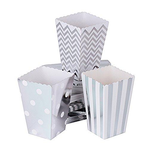 72 Stück Popcorn Boxen Popcorn Tüten Popcorn Schachtel Pappe Party Candy Box Snackbox Kino Box für Snacks, Süßigkeiten, Erdnüsse,Popcorn Silber (Höhe:11.5cm)