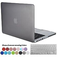 Funda MacBook Pro 13 pulgadas Retina,TECOOL[Ultra Slim Cubierta] Plástico Duro Case Cascara con Tapa del Teclado y Protector de Pantalla para MacBook Pro 13.3 Pulgada Modelo: A1502 and A1425 - Gris