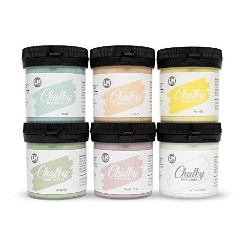 Chalky Kreidefarbe 6er Set (Babyglück) - - Kreide-Farbe, Vintage-Look, Vintage-Farbe, Shabby-Chic-Look, Landhaus-Stil, Chalky Sets, ähnlich Viva Decor Chalky deckend