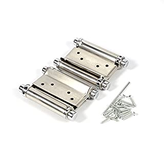 2Pcs Stainless Steel Double Action Spring Hinge 3 Inch For Saloon Cafe Door Shop Swing Door - Silver