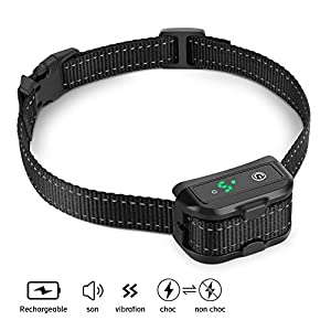 YOUTHINK Collier Anti-aboiements pour Chien, IPX7 Anti-Ingérence Intelligente Collier de Dressage Rechargeable Choc Électrique Convertible Vibration et Bip pour Petits Moyens et Grands Chiens