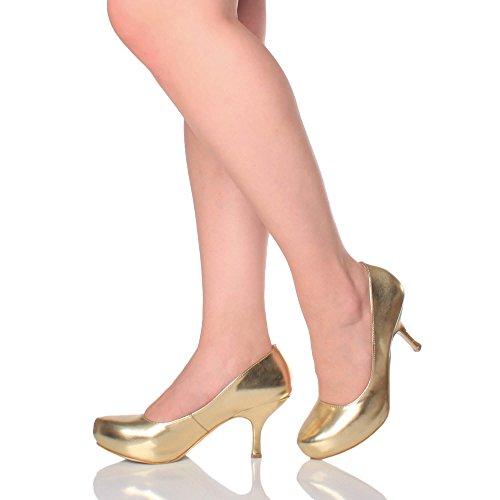 Damen Kleiner Mittel Absatz Versteckte Plateau Arbeit Fesch Schuhe Pumps Größe Gold Metallisch