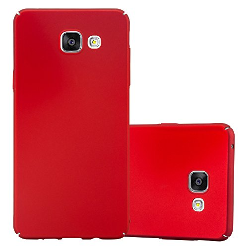 Cadorabo Hülle für Samsung Galaxy A5 2016 (6) - Hülle in Metall ROT - Hardcase Handyhülle im Matt Metal Design - Schutzhülle Bumper Back Case Cover Samsung-metal-handy