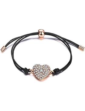 Herz-Armband Mädchen Damen 22 cm Stoffarmband mit Herz-Anhänger