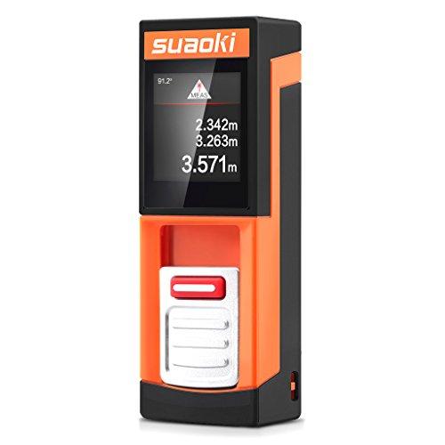 Suaoki D5T - 20m Mini Telémetro Láser, Medidor Láser de Distancia (Datos Transmisión BT, Pantalla Táctil LCD Retroiluminada 3 Líneas, Medición Continua, Pitágoras, Área, Auto nivel y altura, BT iOS/Android 4.3+)