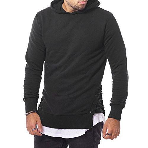 Catch Herren Pullover Kapuzen Hoodie Sweater Long Shirt Schwarz Weiß Khaki S-XL Schwarz