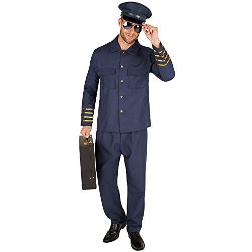 Herrenkostüm Pilot | Uniform bestehend aus Piloten-Jacke und Hose (XXL | Nr. 301443) ()