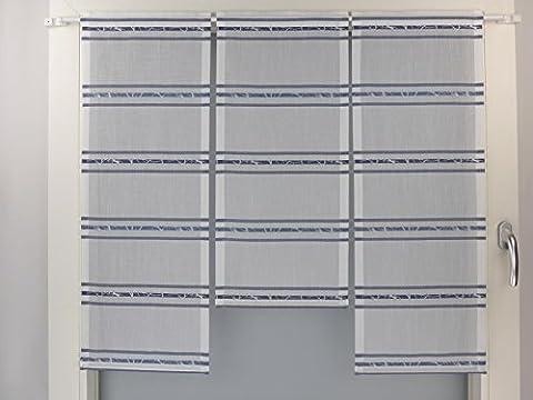 Miniflächen-Set weiß blau quer gestreift Scheibengardine