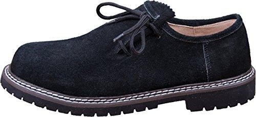 Almwerk Herren Trachtenschuh aus echtem Leder in Verschiedenen Farben, Schuhgröße:EUR 45, Farbe:Schwarz