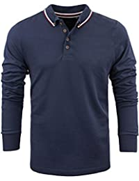 Mens Hatter Brave Soul Long Sleeve Polo Shirt, Navy blue, X-Large | Chest 42' to 44'