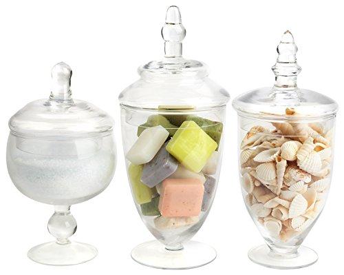 Mandel-Mantello Glas Apotheker Gläser klar klein, Set von 3 Glass Candy Apothecary Jar