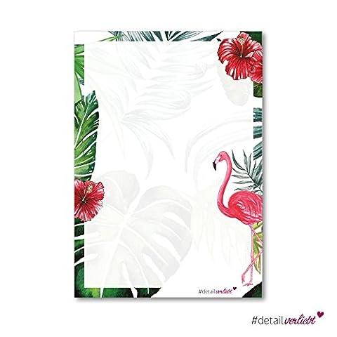Flamingo-Motivpapier | dv_209 | 50 Blatt | DIN A4 | Briefpapier Schreibpapier Briefbogen Flamingo Hawaii Blüte Blumen Sommer Palmen exotisch Tropical Brief Einladung Geburtstag Geschenkidee