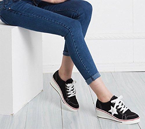 Solshine Damen Canvas Sportlich Low Top Keilabsatz Schnürer Sneaker-Wedges Sportschuhe Größe 35 - 43 Schwarz
