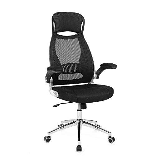 Songmics Bürostuhl Drehstuhl Chefsessel Bürodrehstuhl mit Kopfstütze klappbare Armlehnen Wippfunktion schwarz OBN86BK