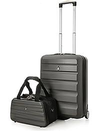 Aerolite Ryanair 55x40x20cm Hartschale Handgepäck Kabine Koffer + 35x20x20cm Maximale Größe Zweite Tasche