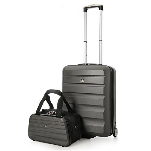 Aerolite Ryanair 55x40x20cm Valise de Cabine de Bagage à Main Dur Shell + 35x20x20cm Taille maximale deuxième Sac (Charbon + 2sd Sac Noir)