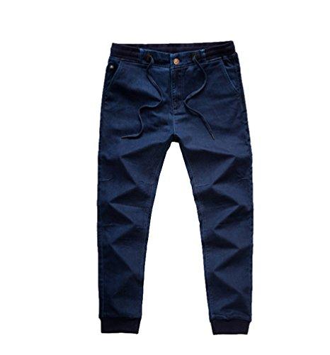 Niseng uomo jeans confortevoli lavorati a maglia jeans dritti stretch jeans casual grandi dimensioni pantaloniblu scuro 6xl