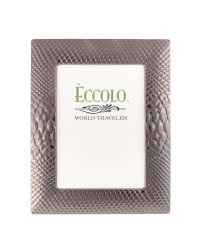 Eccolo Python Plated Frame That Holds 4 x 6-Inch Photo, Gunmetal (Frame Metal Textured)