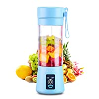 Portable 6 Blades in 3D Juicer Cup,Updated Version Rechargeable Juice Blender Magnetic Secure Switch Electric Fruit Mixer for Superb Mixing 380ml (blue)