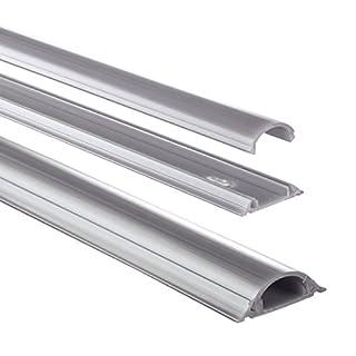 Hama Kabelkanal selbstklebend PVC (Kabelabdeckung halbrund 3,5 cm x 100 cm, bis zu 2 Kabel pro Leiste, Kabelschacht zum verstecken von Kabeln) grau