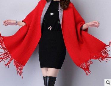 Frauen Kaschmir Poncho Strickjacke Strickpullover Mantel Schal Winter Pullover Oversize Schal Poncho mit Ärmeln in rot/grau von der Marke MyBeautyworld24