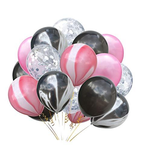 P Prettyia 20x Konfetti Ballon Latexballon Luftballon Party Supplies, 5 Stile Auswahl - Schwarz + Rosa + Silber (Ballon-dekorationen Und Schwarz Rosa)