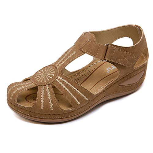 schlossene Zehen Sandalen aus weichem Leder Flache Freizeitschuhe atmungsaktiv aushöhlen Wanderschuhe Damen Sommer Schuhe T-Riemen Sandalen Plattform Plus Größe UK4.5-UK11.5 ()