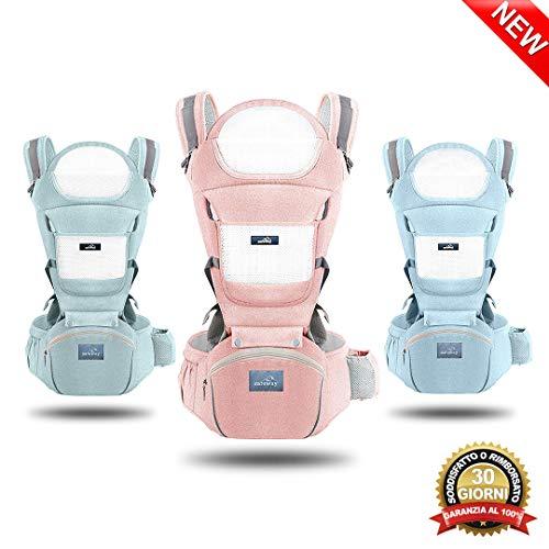 Safeway Marsupio Porta Bambino - Porta Bebè Ergonomico 0-36 Mesi di Cotone - 6 Tipi di Seduta - Zaino Con Borsa, Cintura e Supporto per la Testa - Regalo per le Mamme - Accessori per Neonati e Bimbi