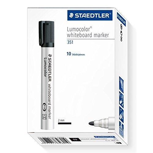 Staedtler Lumocolor 351-9 Whiteboard-Marker, Rundspitze, 10 Stück, schwarz