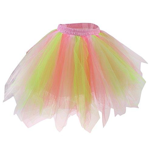 Gazechimp Frauen Erwachsene Tutu Rock Ballett Prinzessin Fancy Party Petticoat Pettiskirt - Grün und Rosa, one (Tutu Erwachsene Grün)