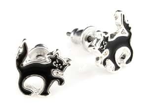 Zest Black Cat Halloween Stud Earrings for Pierced Ears