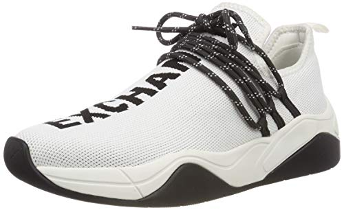 Armani Exchange Damen Knitted lace up Sneaker, Weiß (White 00001), 39 EU