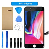 FLYLINKTECH LCD Touchscreen Für iPhone 8 Display Ersatz Bildschirm Front Komplettes Glas mit Werkzeuge Für iPhone 8 Schwarz (Für iPhone 8, Schwarz)