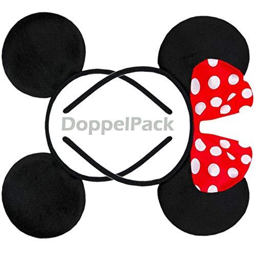 it Maus Haarreifen | Maus Ohren mit roter Schleife und weißen Punkten & Maus Ohren in schwarz für Kinder und Erwachsene ()