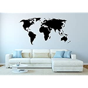 Melis Folienwerkstatt WandTattoo–Mapa del Mundo Tierra–Muy detallado–160x 84cm–Pegatinas de Pared Decorativo para Pared–meliso Pantalla Taller W15, andere Farbe, 140_x_73cm