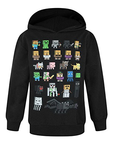 Minecraft Sprites Boy's Black Hoodie (10-11 Years) (Lange Zombies, Liebe Ärmel)