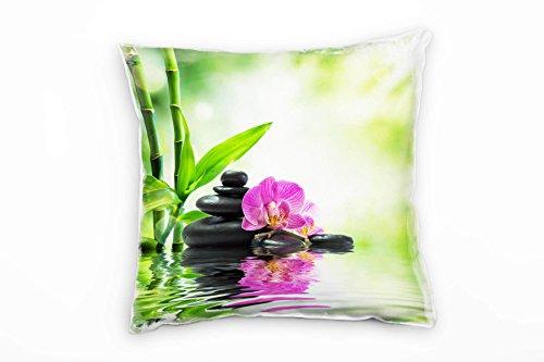 Paul Sinus Art Künstlerische Fotografie, Grün, Bambus, Orchidee Deko Kissen 40x40cm für Couch...