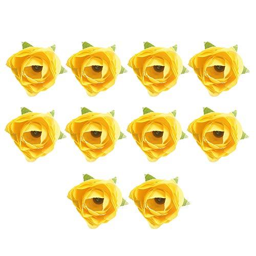 sal008ly7far Lebendige Gefälschte Blume, 10 Stück Künstliche Blume Köpfe Tee Knospen Anordnung DIY Hochzeit Pralinenschachtel Dekor Gelb