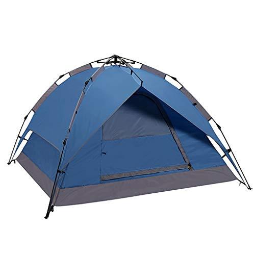 CATRP Pop Up Zelt Sofort Automatische Doppelschicht 3-4 Personen Camping Zelt Verdicken Regendicht Leichte Kuppelzelt, 2 Farben (Farbe : Blau)