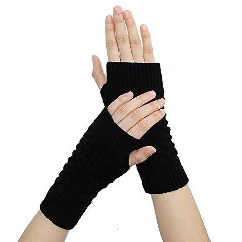 Fletion Damen Herren Winter Halb Handschuhe Winter Wärmer Strick Handschuhe Gestrickte Fingerlose Armstulpen Fäustlinge (Schwarz)