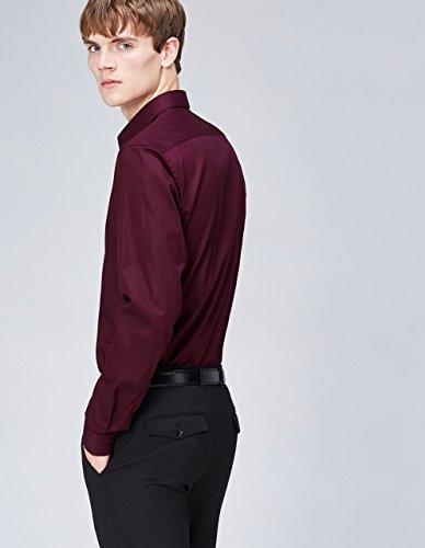 FIND Herren Hemd Oliver Slim Fit Rot (Burgundy)