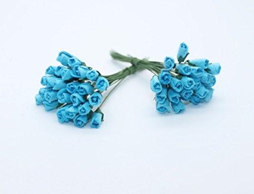 100 mini Rose bleue Scrapbook artisanat 6mm Papier murier de fleurs de mariage carte Dollhous