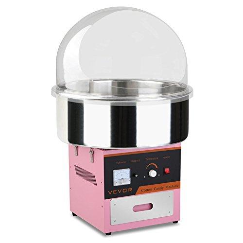 BuoQua Zuckerwattemaschine Zucker Rosa Profi Edelstahl Zuckerwatte Maschine für Zuhause 1000W Elektrische Zuckerwattegerät mit Schutzhaube