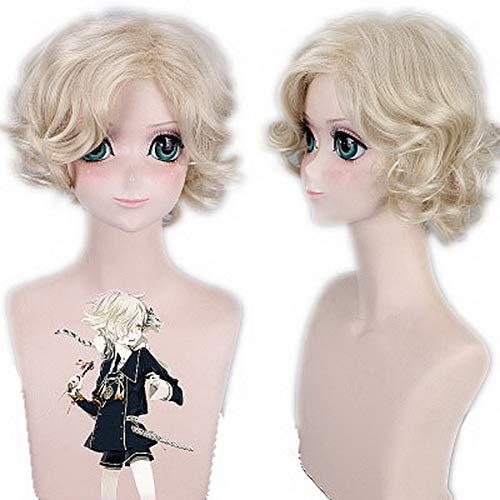 HOOLAZA Blonde kurze lockige gewellte Perücke 33Cm Touken Ranbu Online Gokotai Cosplay Perücke (Gokotai Kostüm)