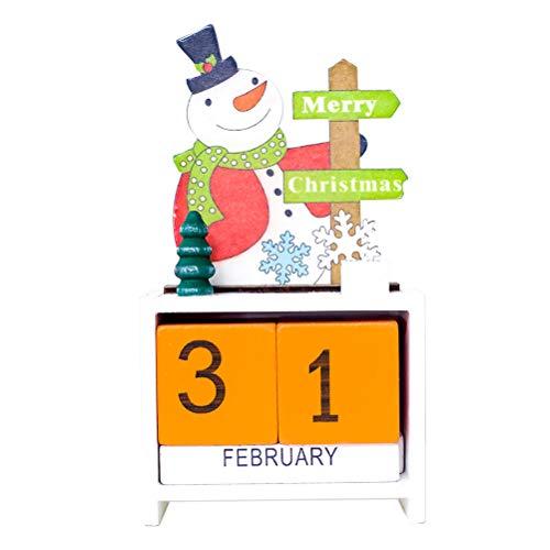 Toyvian Adventskalender Holz Würfel Schneemann Merry Christmas Countdown Dauerkalender Weihnachten Tisch Deko (Orange)